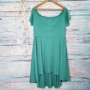 Nemidor Off the Shoulder Green High Low Dress